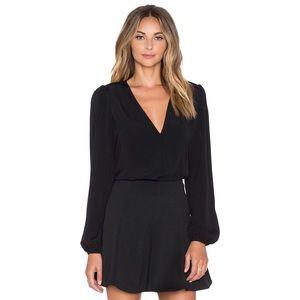 Lovers + Friends Black Wrap Long Sleeve Bodysuit S